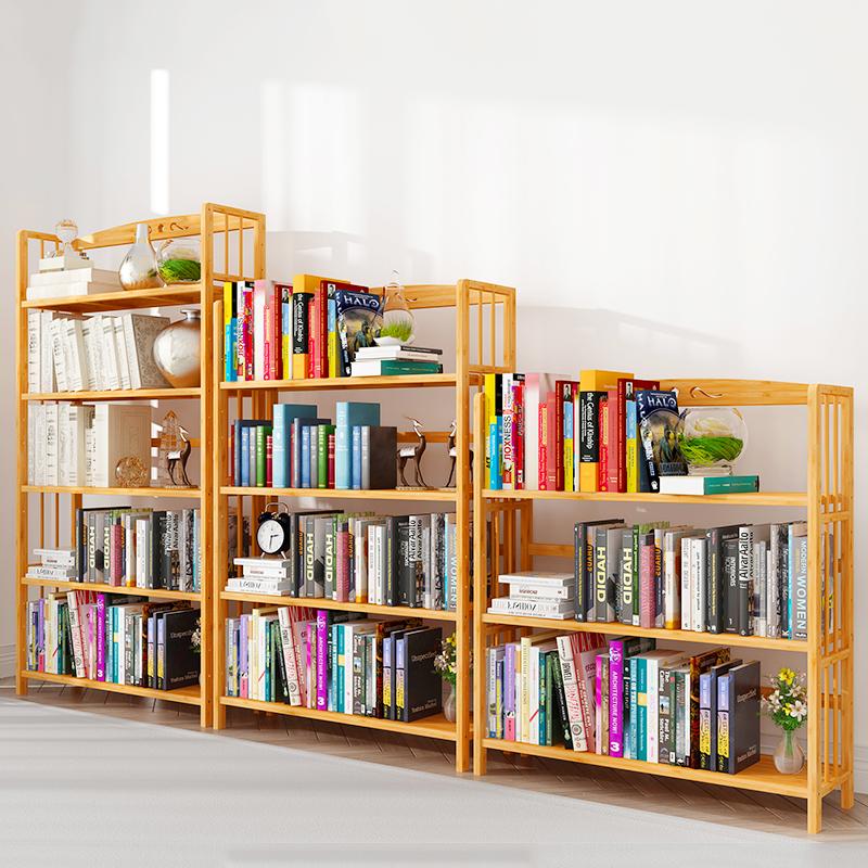 简易书架落地书柜实木多层收纳客厅置物架简约现代儿童学生用桌上