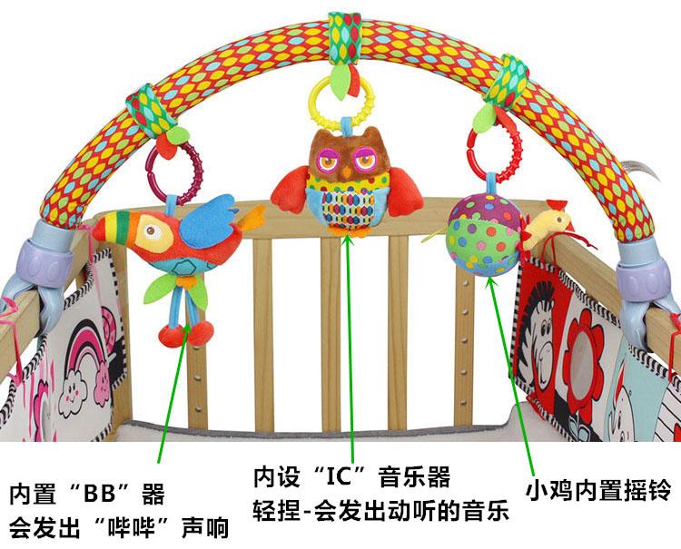 婴儿推车挂件车夹床夹 宝宝床头铃音乐摇铃玩具 儿童安全座椅挂件