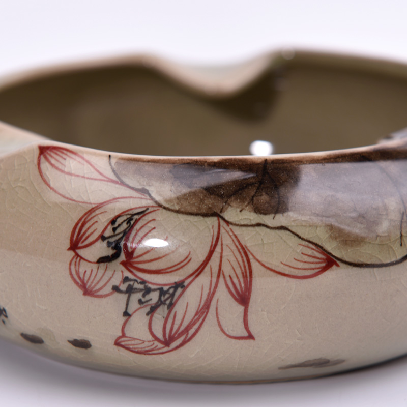 陶瓷烟灰缸中式复古手绘创意个性潮流中国风客厅茶几家用带盖烟缸