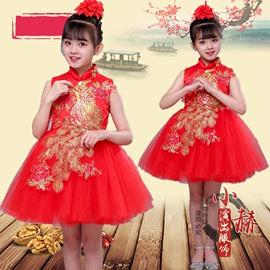 六一说唱中国红舞蹈演出服儿童红色中国风公主裙表演服女童旗袍裙