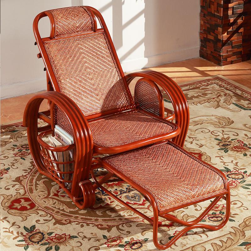 藤椅躺椅午休折叠摇椅阳台家用懒人午睡靠背椅老人藤编实木逍遥椅