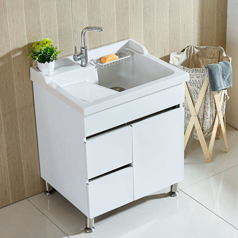 阳台洗衣池不锈钢防水落地洗衣柜浴室柜组合石英石带搓板洗衣台柜