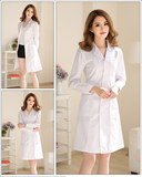 White da saper long-sleeved doctor's uniform women's short-sleeved clothes experimental clothes college students chemical beauty salon nurse sage work clothes
