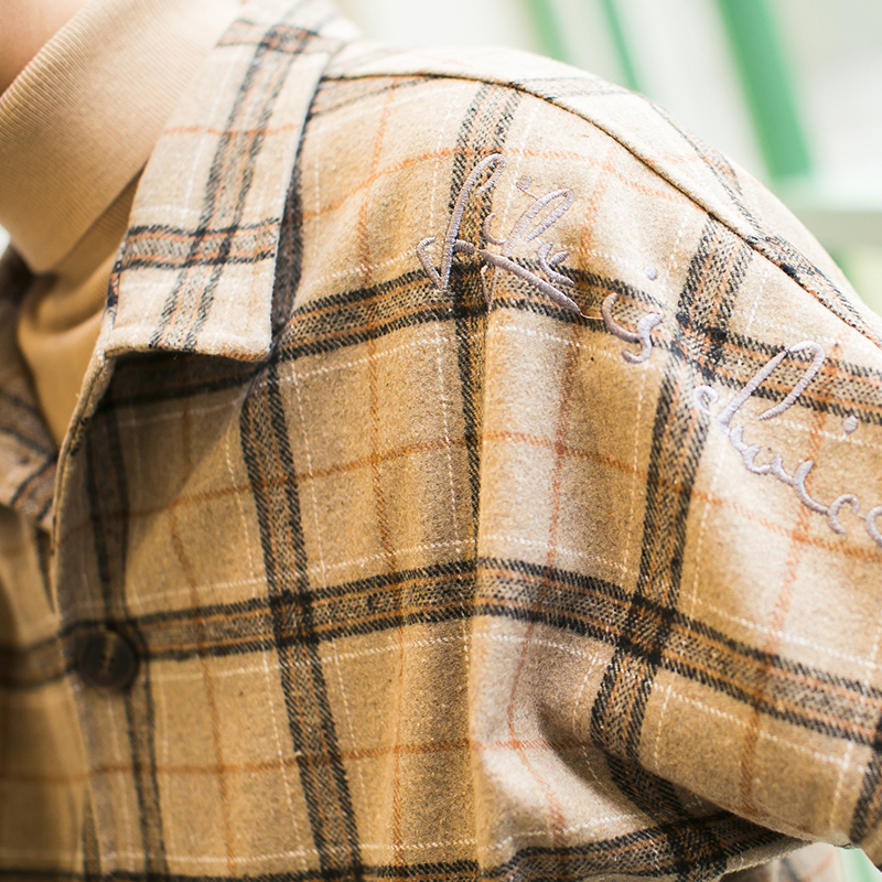 2019新款春秋季韩版毛呢格子外套流行男装休闲上衣服夹克港风潮流高清大图