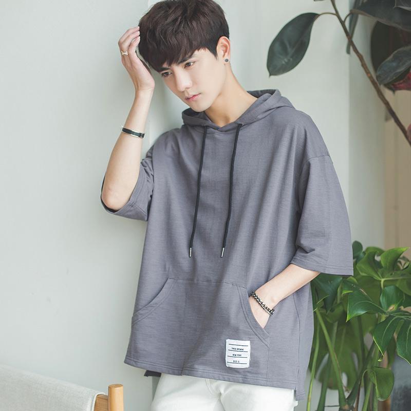 男连帽情侣短袖T恤7七分袖卫衣学生韩版5个性bf风潮流宽松ulzzang