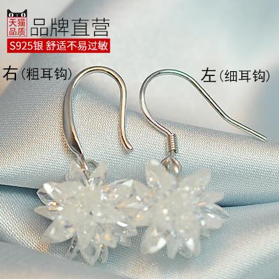 卡伦图925纯银水晶冰花耳环女韩国简约气质雪花耳坠长款耳钉耳挂