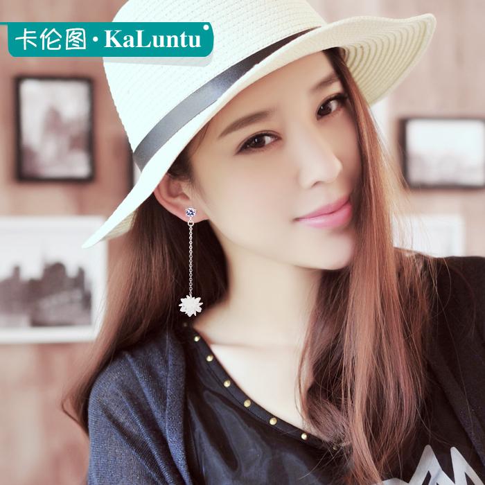 不对称925纯银耳钉女显脸瘦冰花水晶耳环韩国超仙气质长款小耳坠