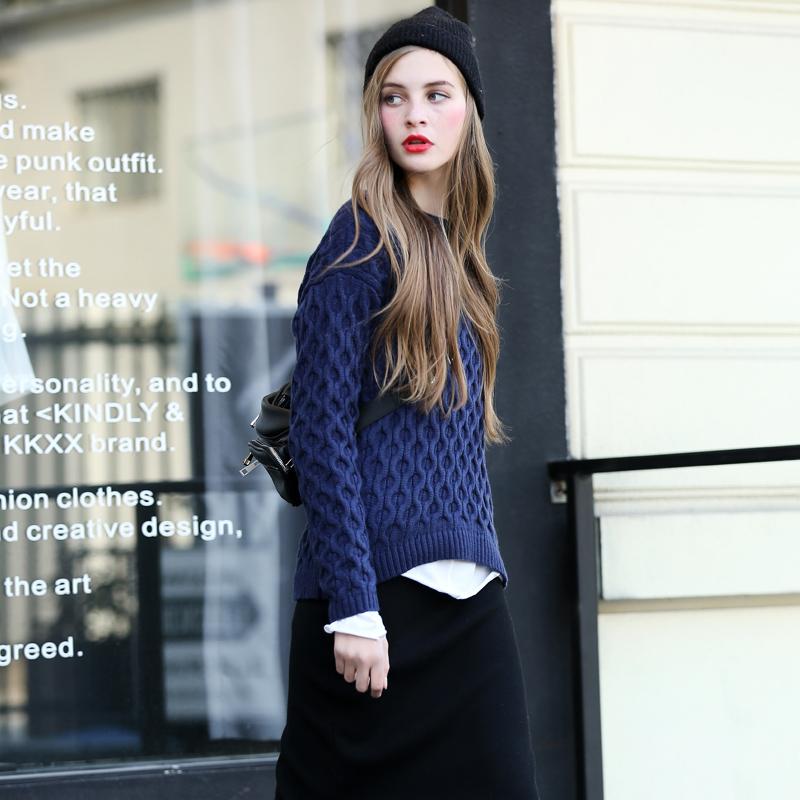 VB 圆领套头纯色女士毛衣显瘦麻花针织衫秋冬装欧美外穿打底衫潮