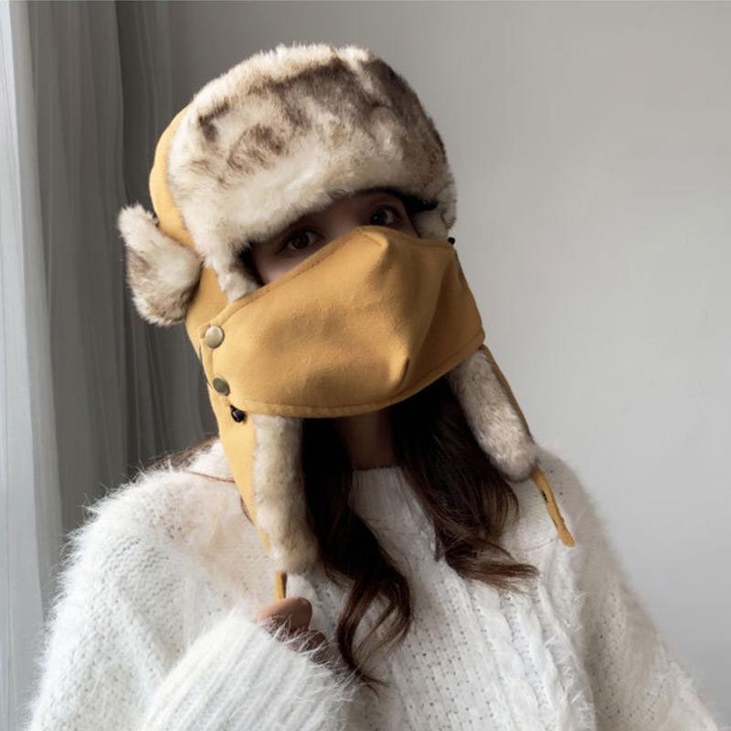 雷锋帽女电动车帽子秋冬季保暖防护防风骑车防寒棉帽冬天韩版护耳