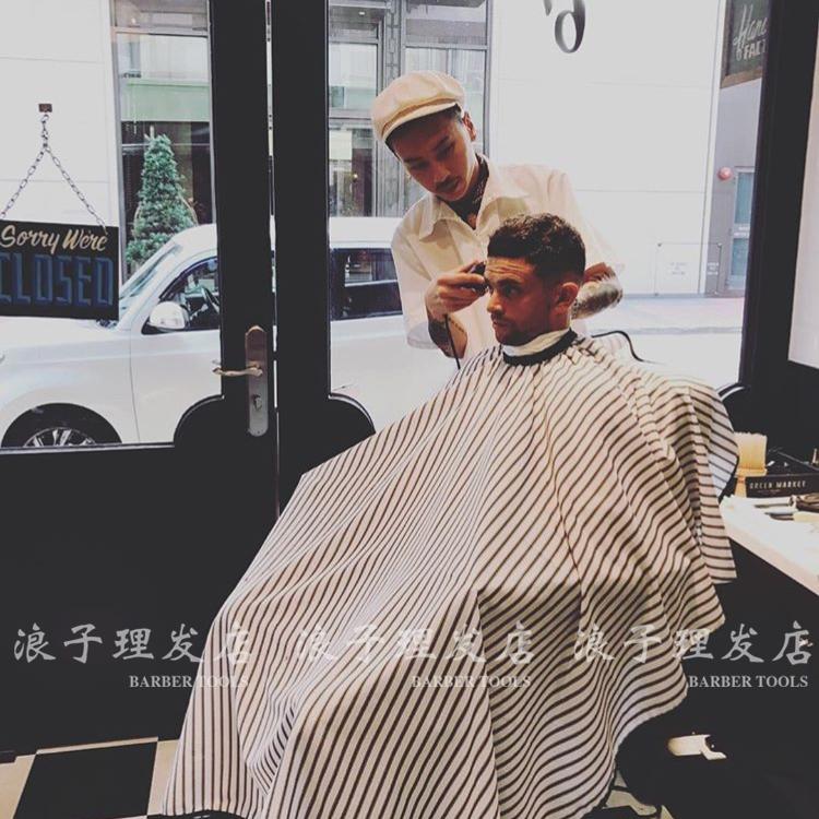 出口高档优质美式barbershop cape加大复古条纹理发围布LOGO订制