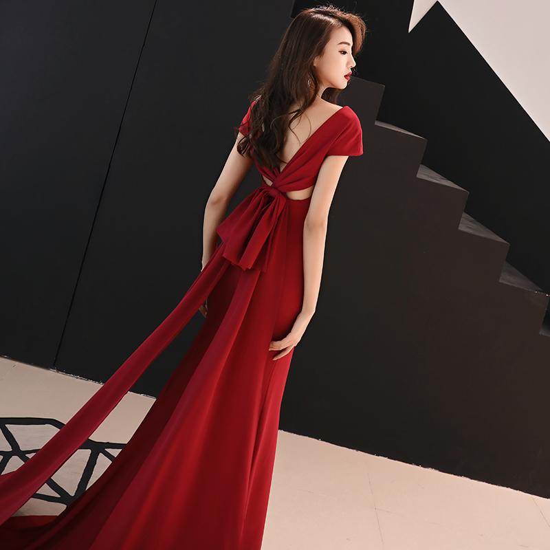 新娘敬酒服2019新款高贵性感拖尾修身红色长款宴会晚礼服裙女春款