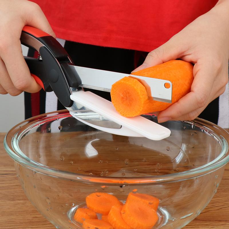 廚房不鏽鋼多功能剪刀菜刀砧板三合一可拆卸水果刀省力廚房小工具