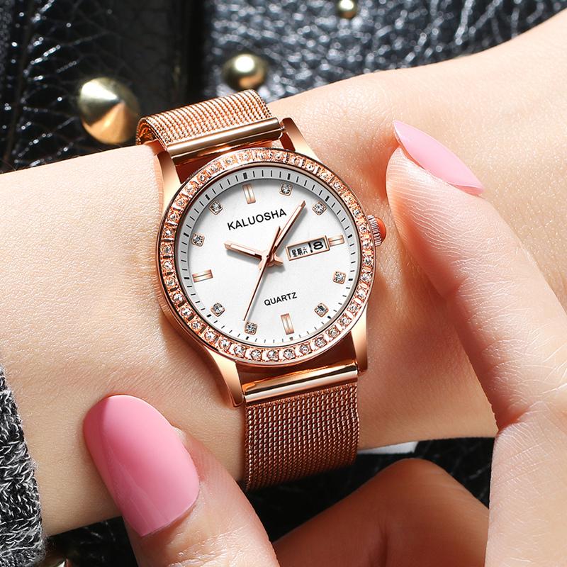 韩版女生手表卡罗莎女士手表女皮带钻夜光防水潮流石英时尚装女表