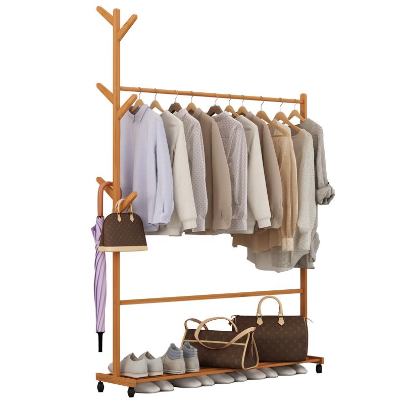 沁欣 简易衣帽架创意客厅挂衣架楠竹落地衣服架子卧室移动收纳架