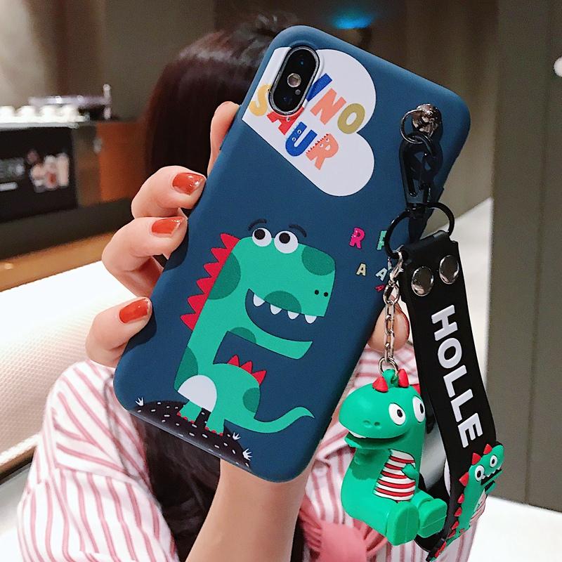 卡通小恐龙公仔手绳苹果6s手机壳iPhone7plus/8/X/Xs软壳情侣款