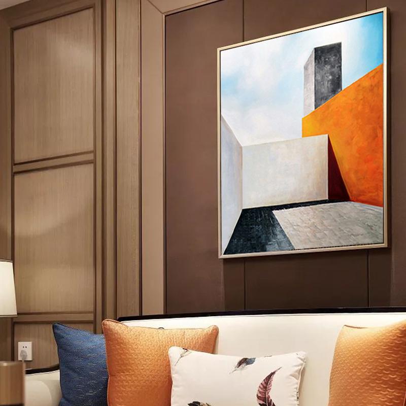 纯手绘油画简约抽象矩形几何建筑风景装饰画客厅沙发玄关过道壁画