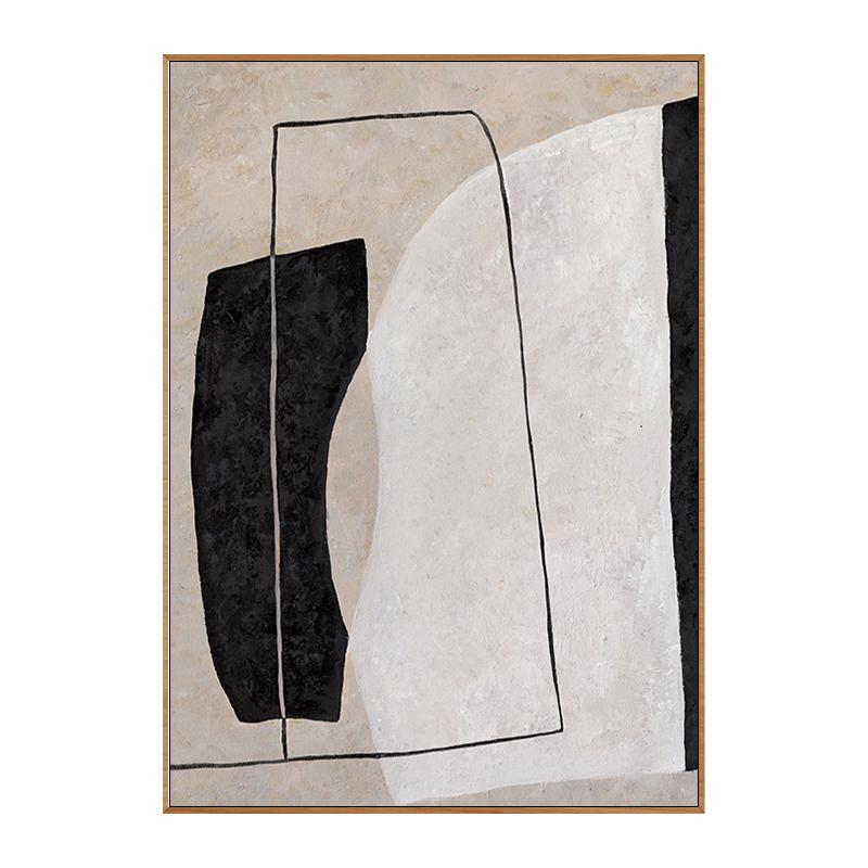 手繪抽象油畫玄關餐廳裝飾畫北歐現代簡約莫蘭迪色掛畫幾何藝術