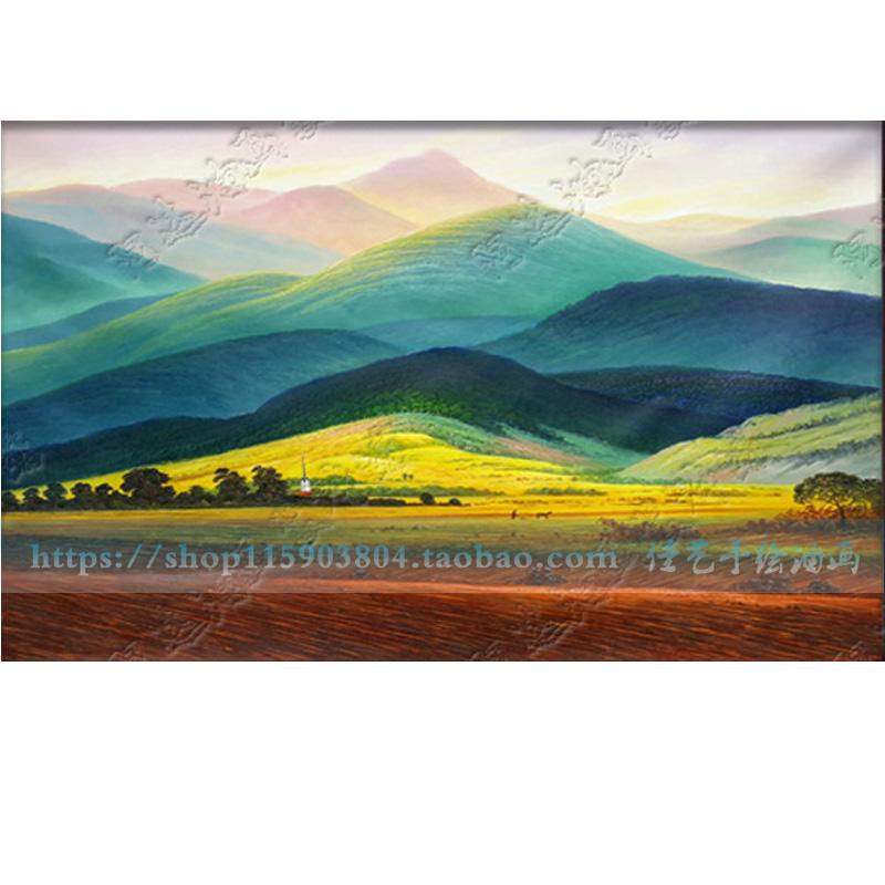 大衛巨人山風景油畫客廳裝飾畫美畫正品純手繪玄關辦公室背有靠山
