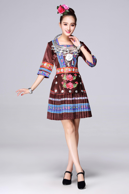 新款苗族服装舞蹈演出服云南少数民族侗族壮族湘西瑶族民族服装女