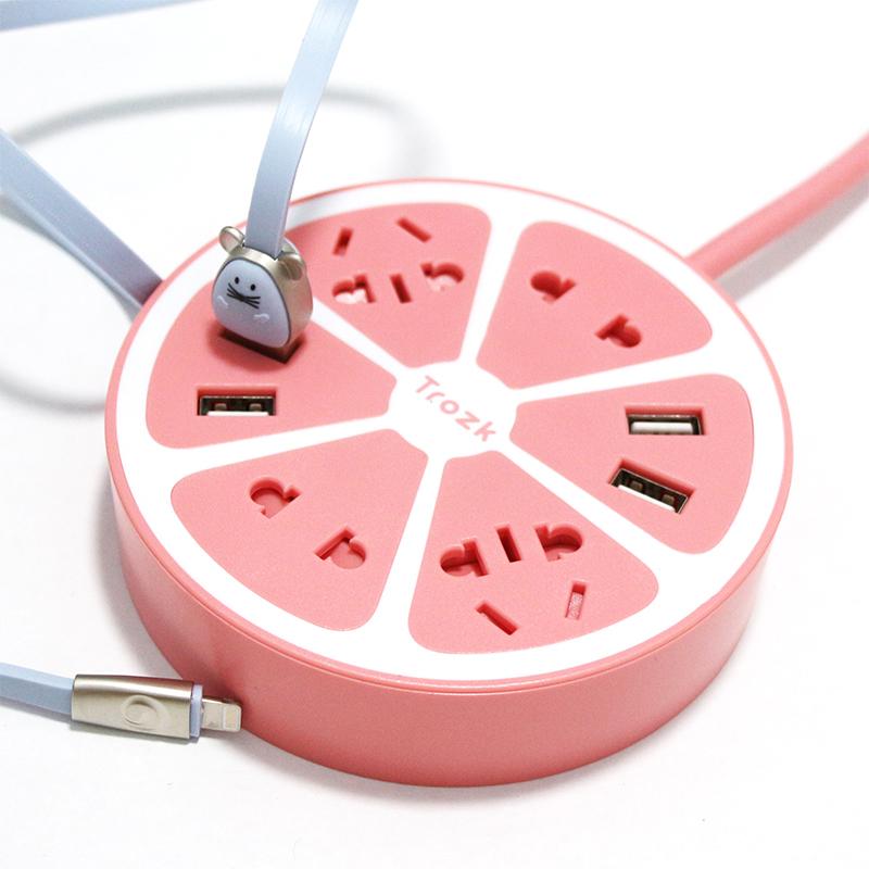 Trozk特洛克多功能插座带USB排插智能创意插排电源转换器多孔家用宿舍学生圆形可爱充电器拖线板接线板插板