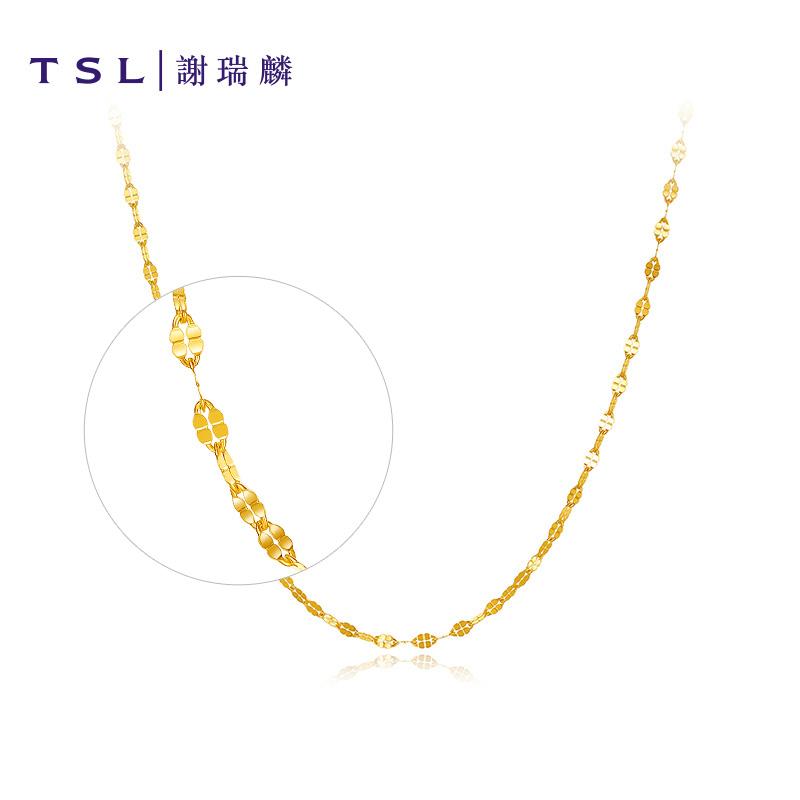 G  XI515 系列黄金项链女足金嘴唇链锁骨链颈饰细款素链 TSL 谢瑞麟