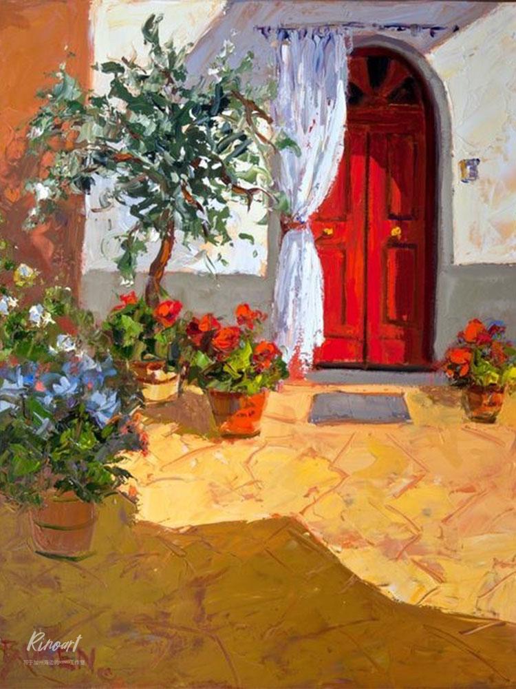 犀牛藝廊含框畫《secret garden》Boren水彩復刻書房邊柜裝飾畫