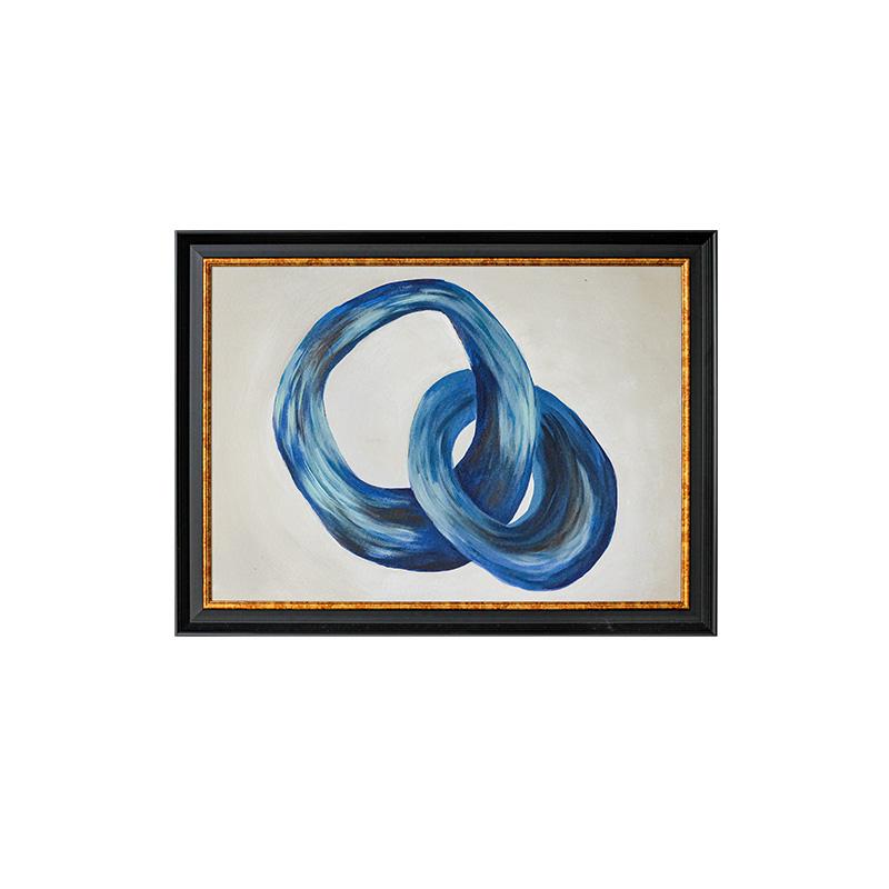若奈裝飾畫《執子之手》抽象畢加索式手繪藍色油畫客廳樣板房墻畫