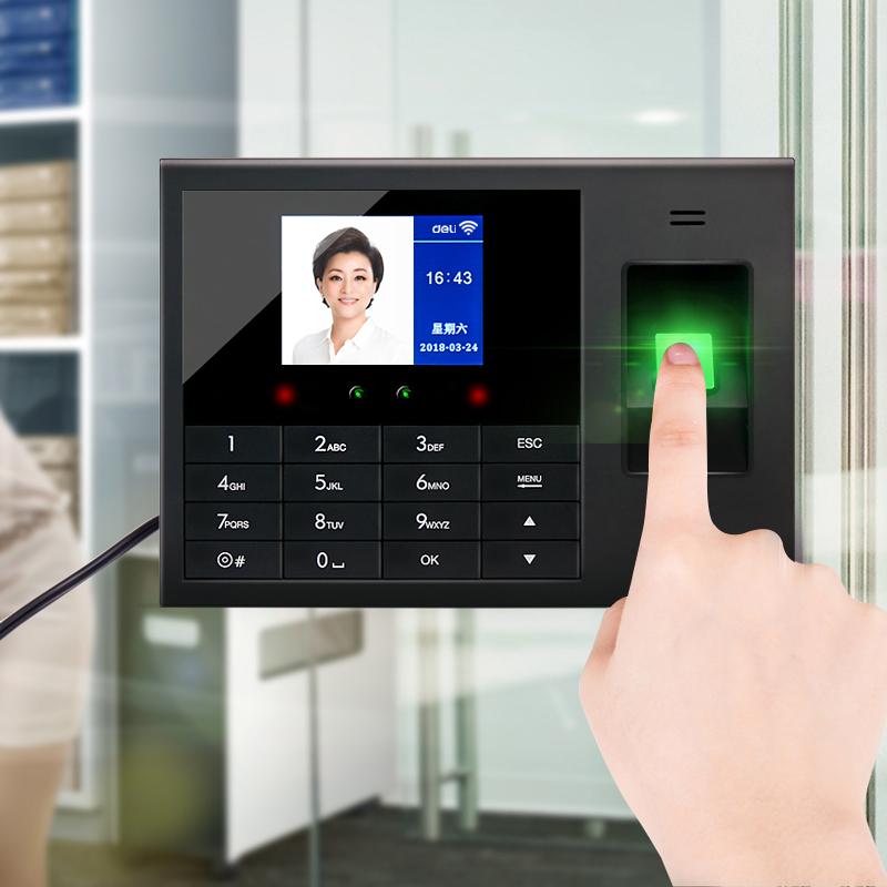 ?刷脸考勤机指纹人脸一体机智能云wifi得力打卡机面部识别考勤机