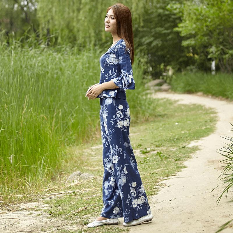 2018民族风夏季女装新品阔腿裤休闲套装中年花色棉麻套装打底圆领