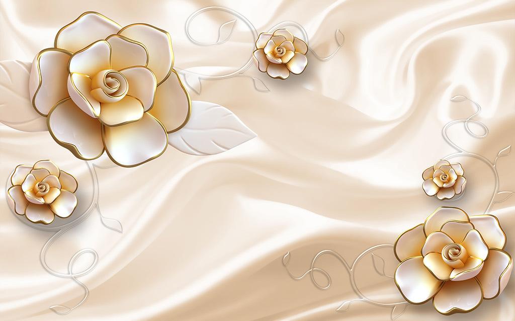 简欧3d立体浮雕玫瑰花卉墙纸电视壁纸客厅沙发壁画无缝墙布5d壁布