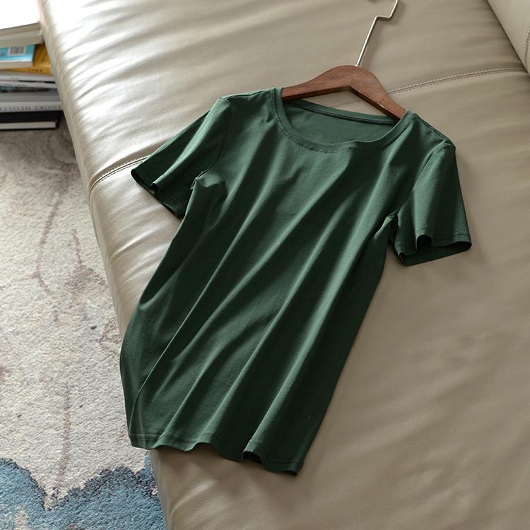曾热销4千多件纯色超美ins超火的80支绿色双面丝光棉圆领