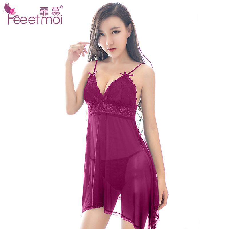 性感睡裙超薄女夏蕾丝情趣透明极度诱惑薄纱吊带睡衣
