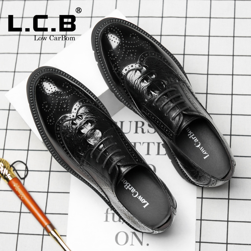 发型师潮鞋子 8cm 厚底内增高皮鞋男 10cm 鳄鱼纹布洛克雕花增高男鞋