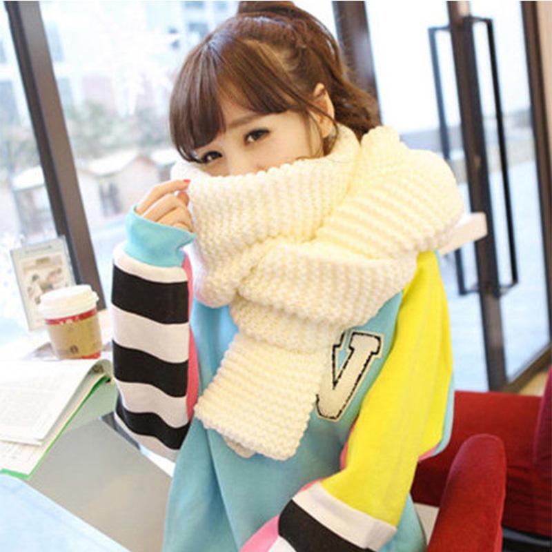 韩版百搭长款女针织加厚围脖韩国情侣男女冬季纯色学生粗毛线围巾