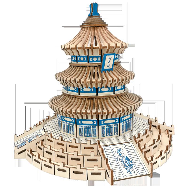 成人高难度3diy木质立体拼图建筑手工拼装模型木头房子拼插积木制