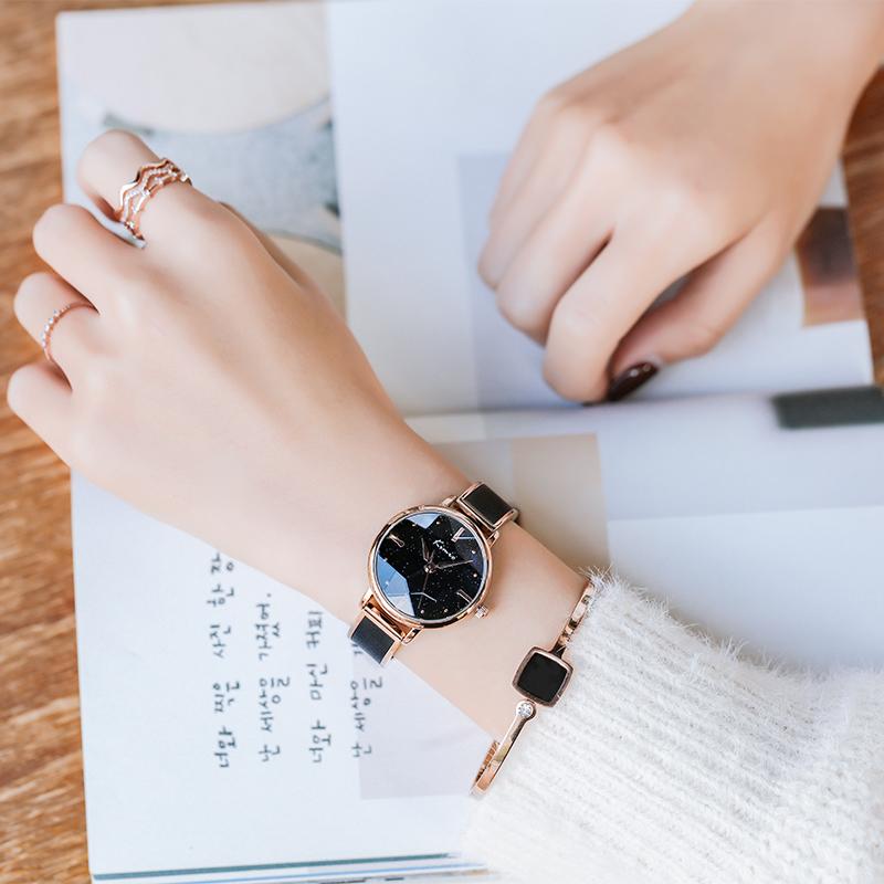 ins 风气质防水法国小众 金米欧 手表女学生手链式星空表链条表 kimio