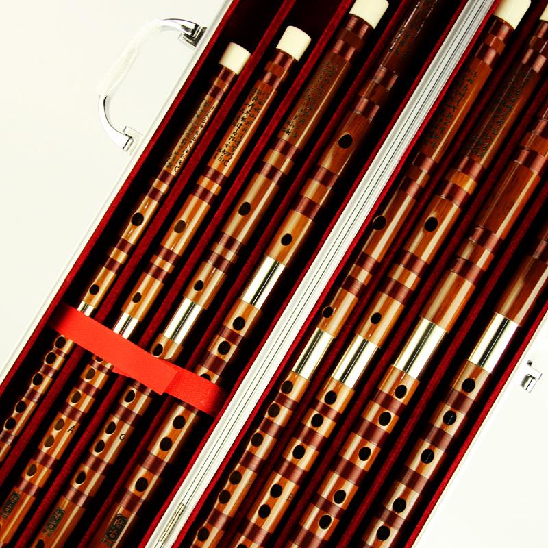 送铝合金笛箱 横笛 双插白铜 套装接铜 演奏型苦竹笛子