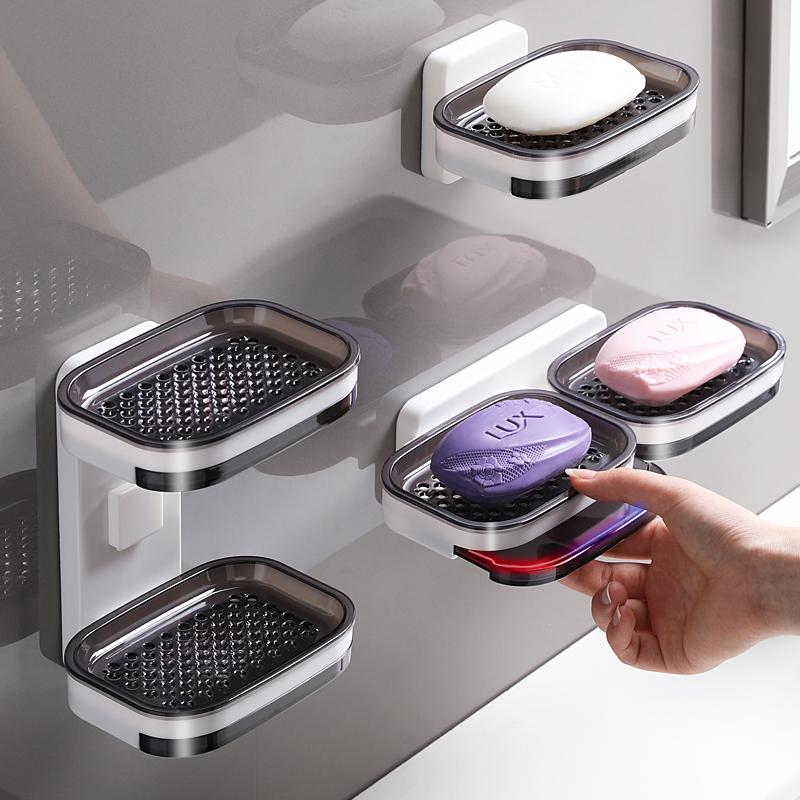 肥皂盒免打孔吸盘壁挂式创意双层沥水架家用卫生间浴室香皂置物架