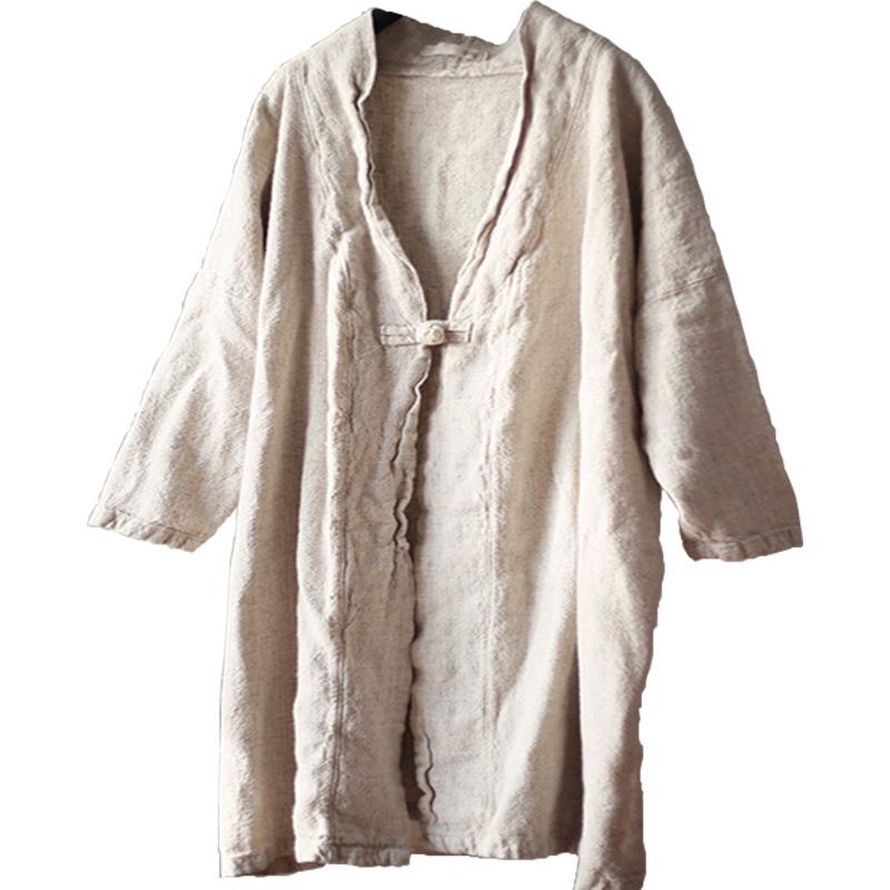 童颜阁2018春季新款原创文艺外套开衫复古棉麻宽松显瘦衬衫女装