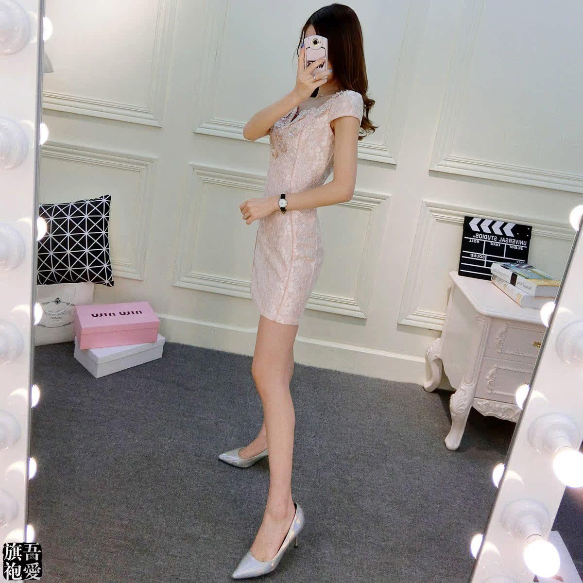 夏季粉色旗袍年轻款少女时尚改良性感中式绣花钉珠礼服连衣裙夏装