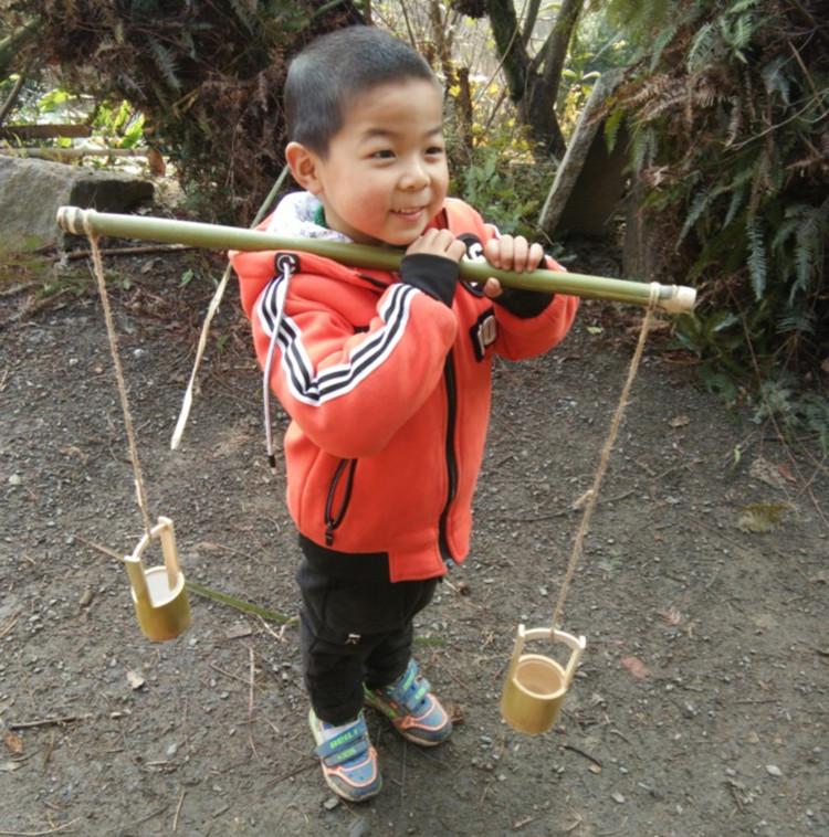 竹水筒竹筒花盆小孩子玩的水桶手提水桶手提竹子花盆包邮