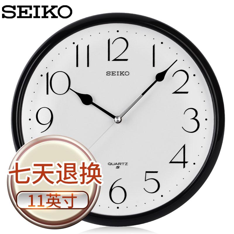 新品SEIKO精工掛鐘 11英寸簡約客廳辦公經典圓形時尚石英掛鐘掛錶