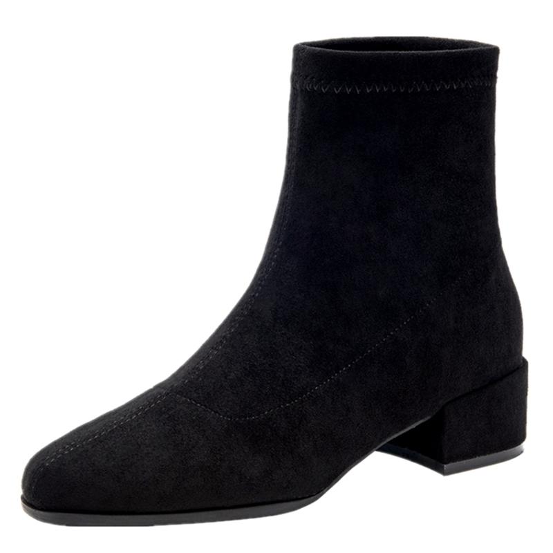 粗跟弹力短靴女2019年秋冬季新款秋鞋百搭马丁靴子中跟瘦瘦靴秋款