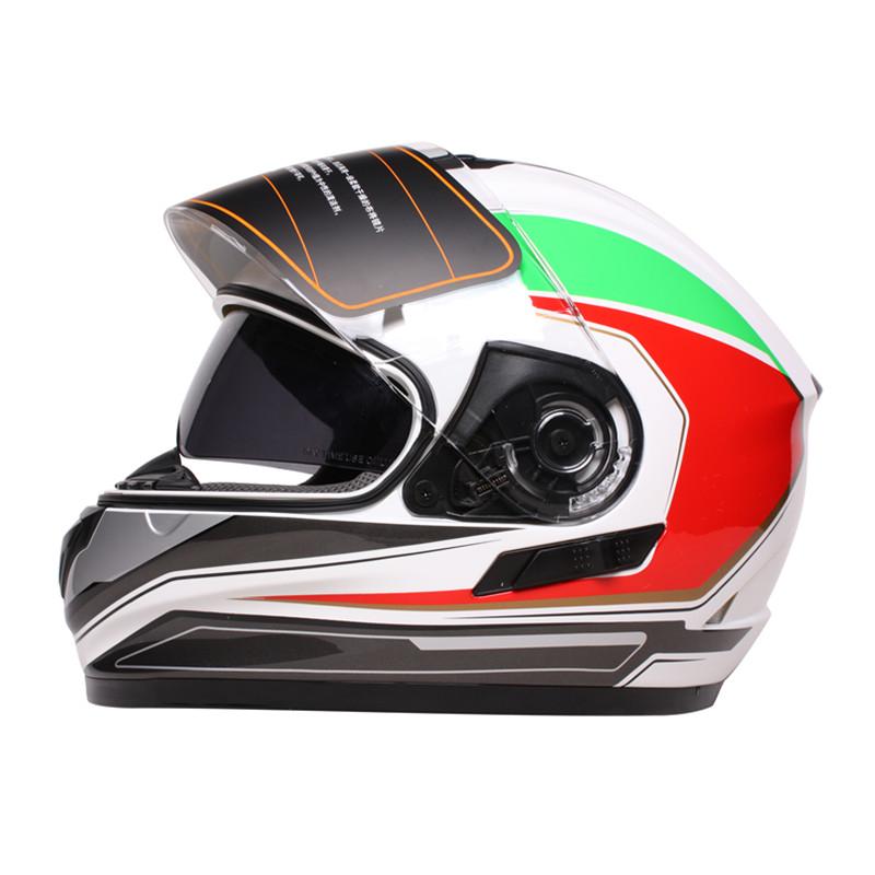 坦克头盔全盔冬季安全帽摩托车头盔男全覆式 四季双镜片防雾通用