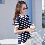 Summer short-sleeved T-shirt female striped polo collar sports casual jacket ice cotton breathable lapel contrast color fashion small shirt