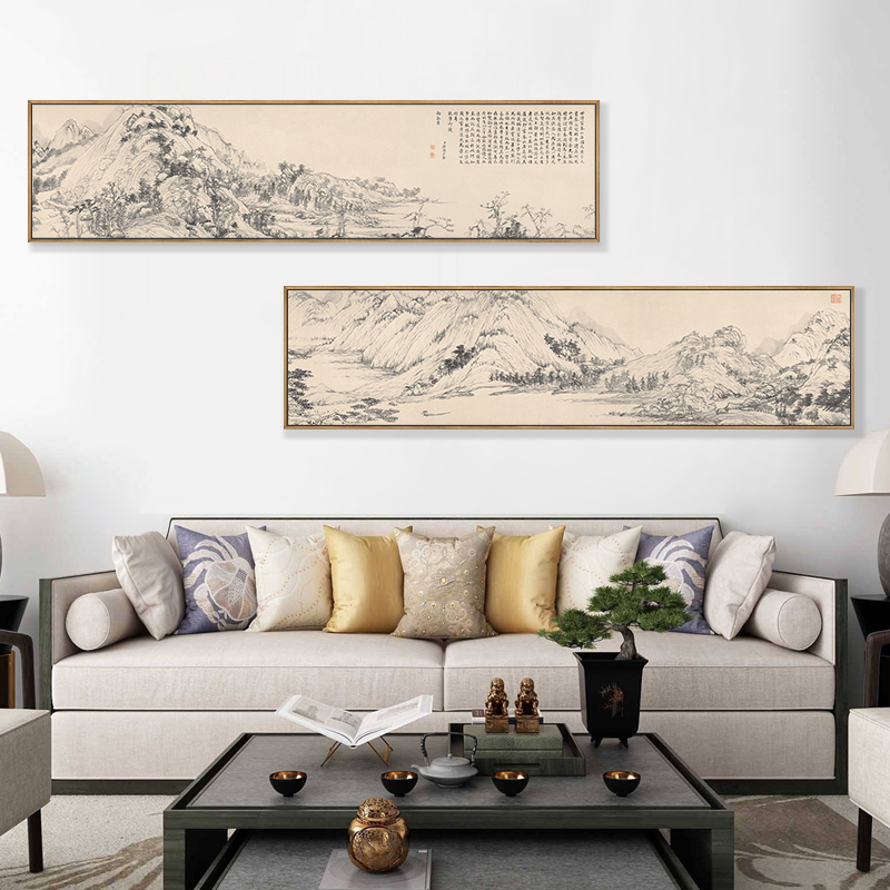 客廳書房裝飾橫幅山水壁畫富春山居圖國畫新中式茶室沙發背景墻畫