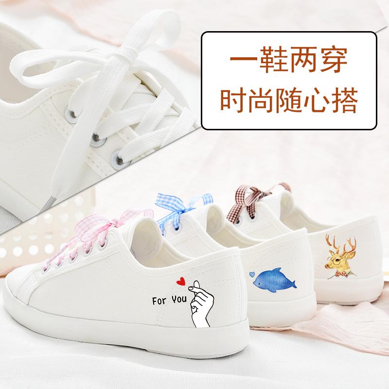 鞋子女2019潮鞋新款小白鞋女2019秋季手绘帆布鞋学生韩版百搭布鞋