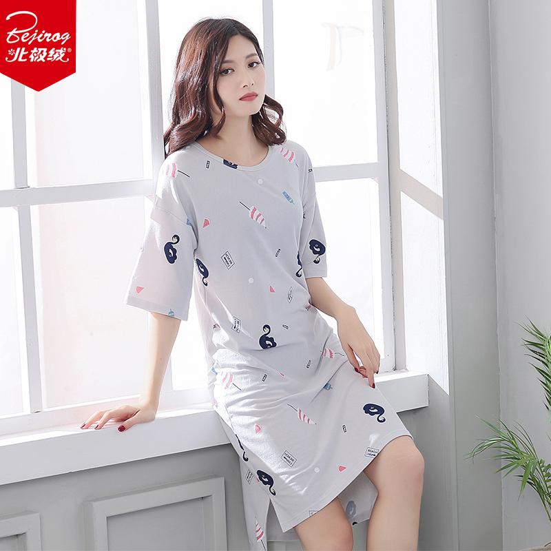 北极绒睡裙女夏性感韩版清新学生夏天睡衣可外穿女士宽松家居服