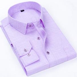 春季中老年男衬衫纯棉长袖爸爸装宽松中年人商务免烫老人衬衣薄款
