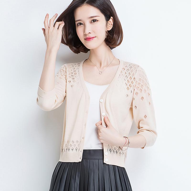 针织开衫女夏季薄款冰丝针织衫短款披肩外搭空调衫配裙子的小外套